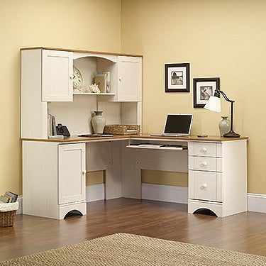 Modern L Shaped Corner Desk With Included Hutch In Antique