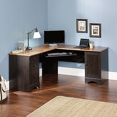 L-shaped Corner Desk with Optional Hutch in Antique Black Finish