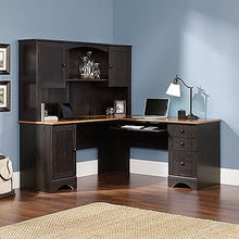 Load image into Gallery viewer, Modern L-shaped Corner Desk with Included Hutch in Black Antique Finish