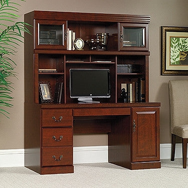 "Contemporary 59"" Executive Desk with Hutch in Classic Cherry"