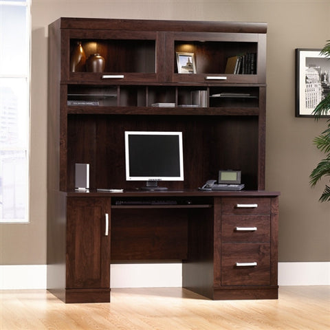 "Sleek 59"" Desk and Hutch with Glass Doors in Dark Alder"
