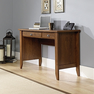"Modern Compact 47"" Desk with Keyboard Tray in Oiled Oak Finish"