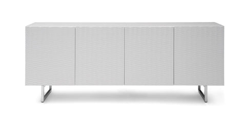 "79"" Storage Credenza with Wave Textured Doors in White"