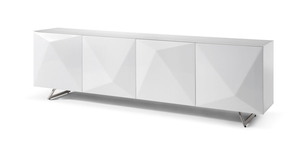 Gorgeous Glass-Top Crystal White Storage Credenza
