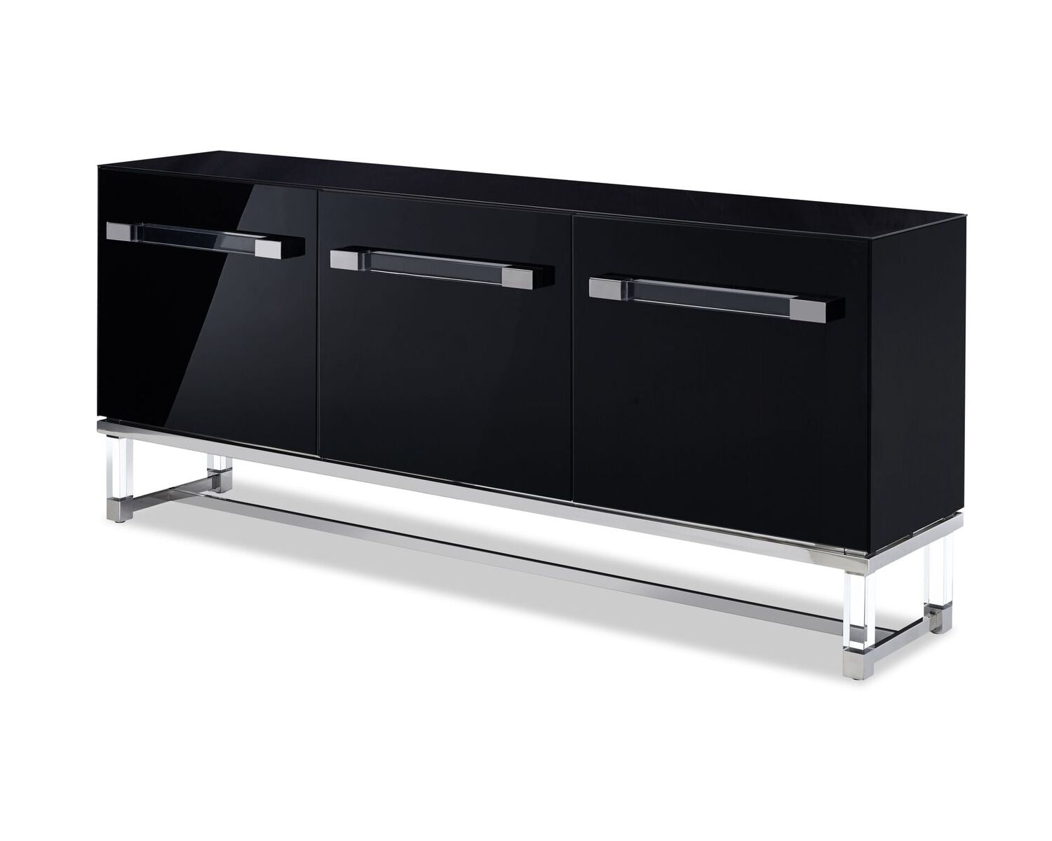 Striking Black Glossy Storage Credenza