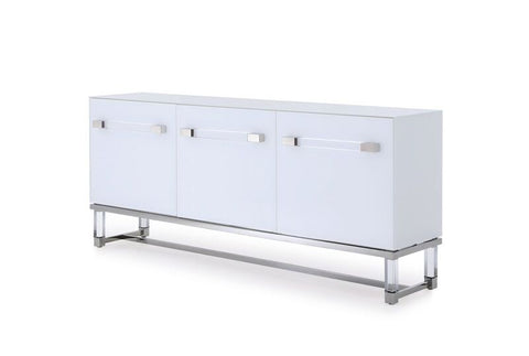 Striking White Glossy Storage Credenza