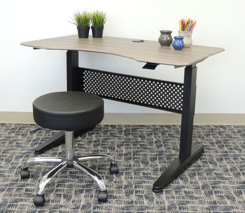 "Height Adjustable 47"" Office Desk in Driftwood"