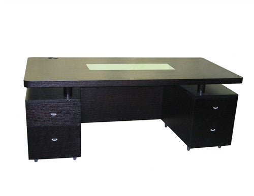 Elite Double Pedestal Modern Executive Desk with Glass Insert