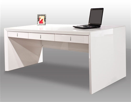 Ultra Modern White Lacquer Executive Desk With Three