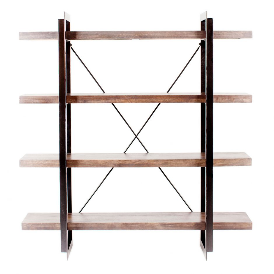 "Contemporary 64"" Mango Wood 4 Shelf Bookcase"