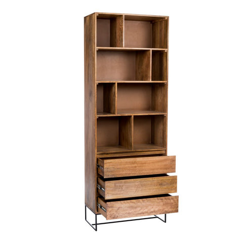"86"" Tall Solid Mango Wood Bookcase with 4 Shelves"