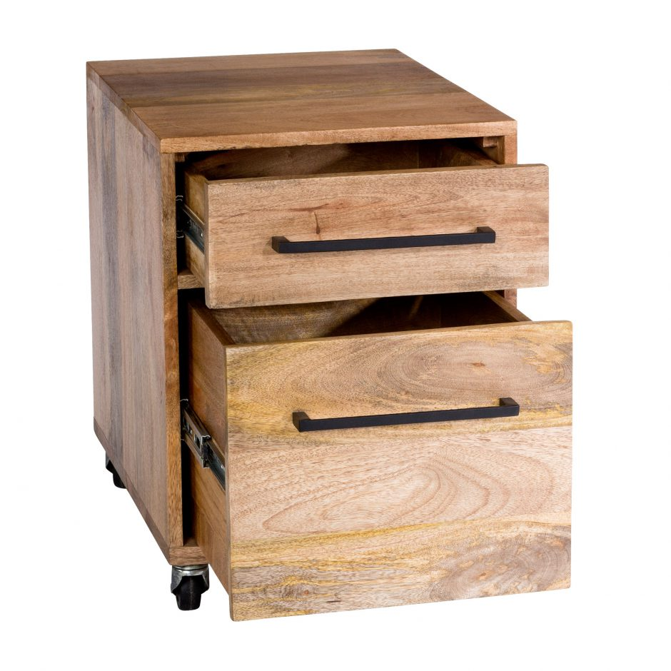 Solid Mango Wood Mobile File Cabinet with Two Drawers