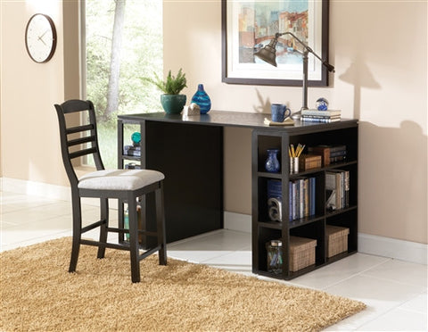 "56"" Black Modern Counter Height Desk with Integrated Shelving"