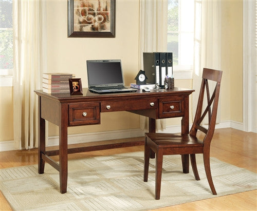 "Premium Solid & Veneer 54"" Writing Desk in Cherry"