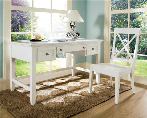 "54"" Premium Solid & Veneer Writing Desk in White"