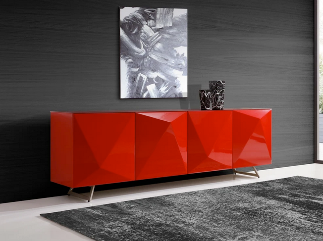 Gorgeous Glass-Top Red Storage Credenza