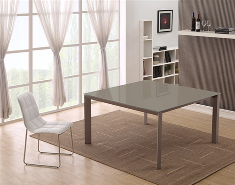 "55"" Square Desk or Meeting Table with Taupe Legs & White Glass Top"