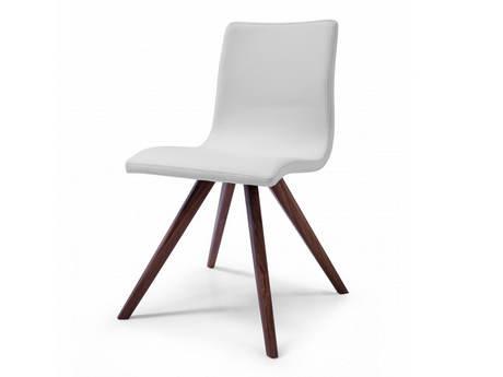 Modern Leather Office or Conference Chair with Solid Wood Legs in White
