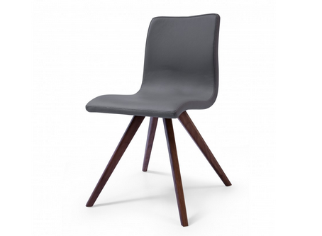 Modern Leather Office or Conference Chair with Solid Wood Legs in Gray