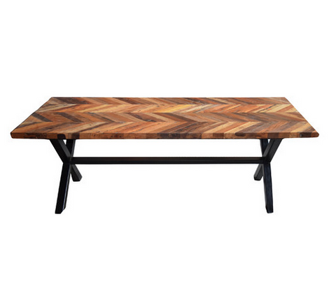 "97"" Modern Recycled Wood Conference Table with Unique Top"