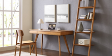 "Load image into Gallery viewer, Solid Bamboo 60"" Modern Executive Desk with Drawers in Caramel"