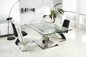 Extendable Glass Desk or Conference Table with Polished Stainless Steel Base