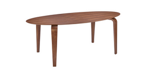 "Modern 79"" Walnut Desk or Conference Table with Oval Top"