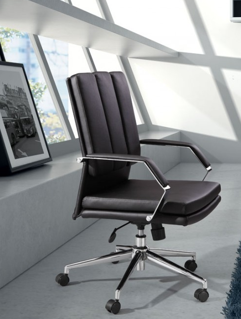 Modern Black Leather & Chrome Office Chair