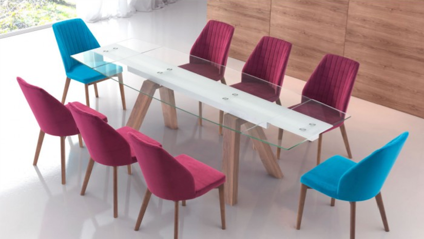 "71"" - 102"" Extending Glass Conference Table with Walnut Legs"