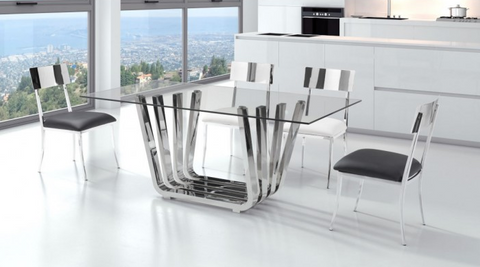 "Uber Modern 71"" Glass & Stainless Desk or Conference Table"