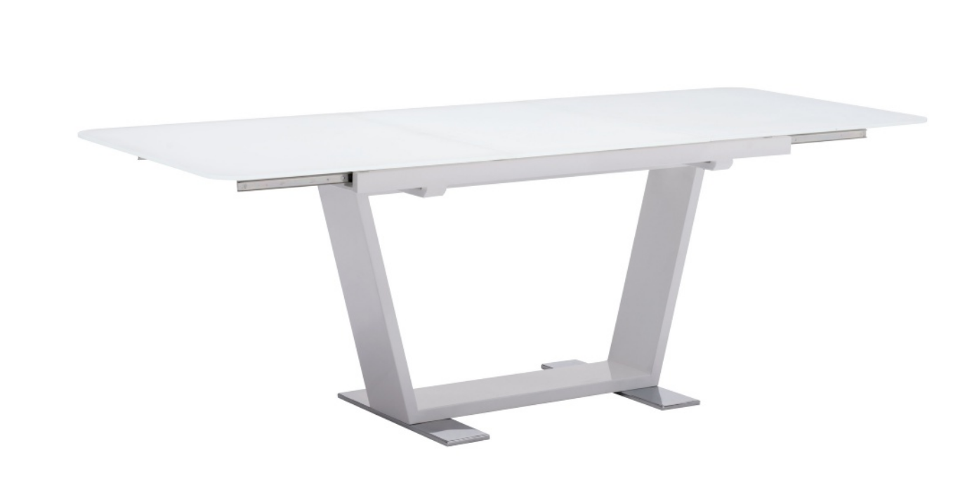 Modern White Glass Extending Conference Table
