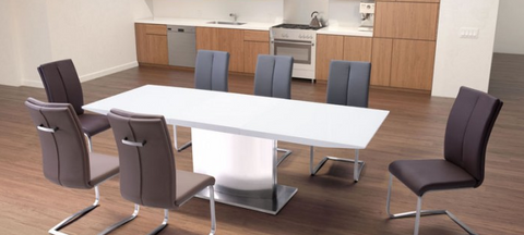 "Modern White Glass Conference Table with Stainless Base (71 - 95"" W)"