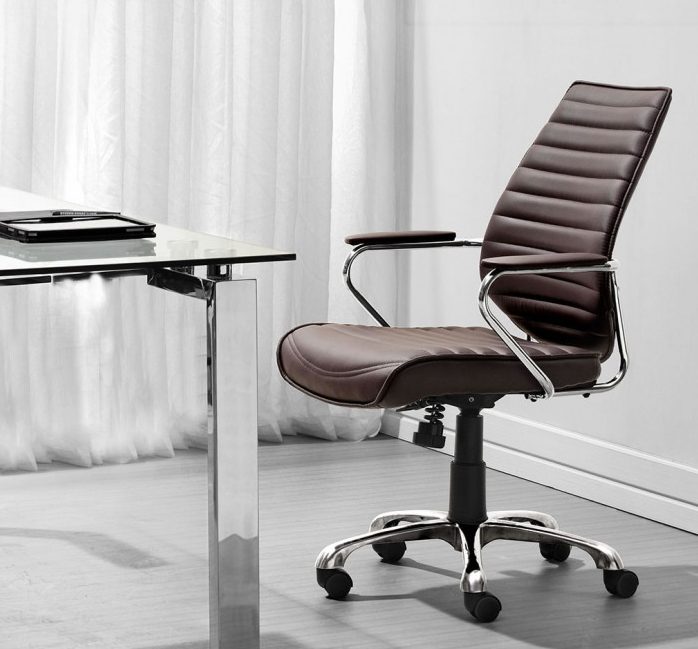 Elegant Espresso Leather & Chrome Mid-Back Chair