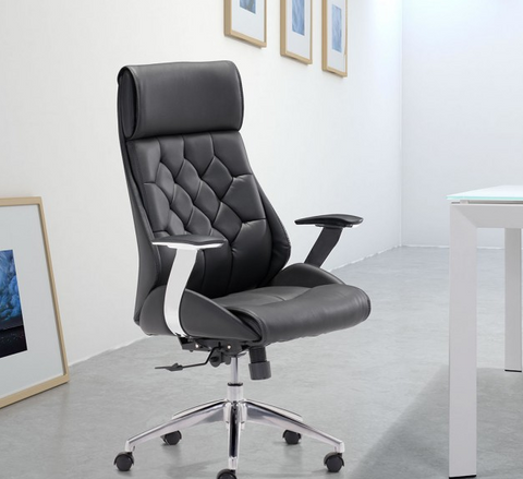 Black Leather & Chrome Modern Office Chair with Ultimate Comfort