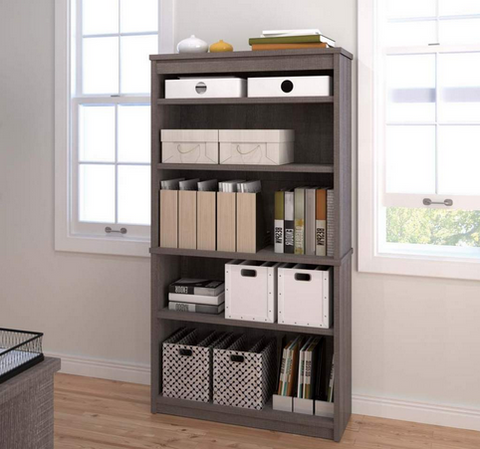 "66"" Five Shelf Bookcase in Bark Gray Finish"