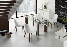 Load image into Gallery viewer, Modern Glass Conference Table or Executive Desk with Walnut Legs & Extension Top