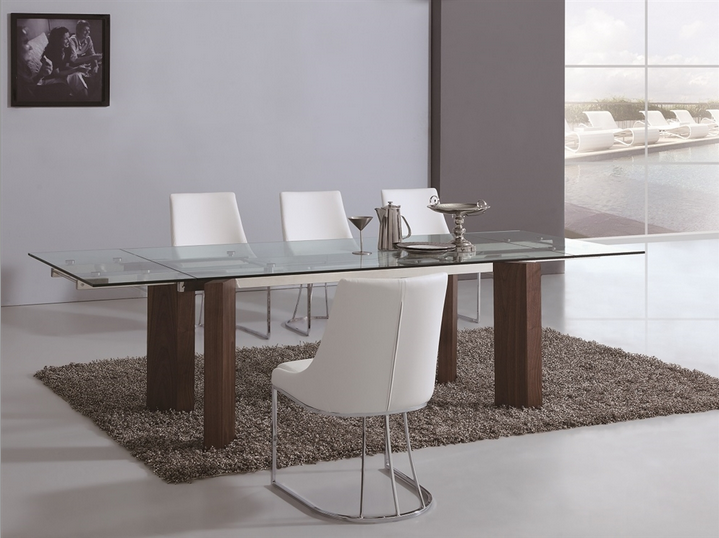 Modern Glass Conference Table or Executive Desk with Walnut Legs & Extension Top
