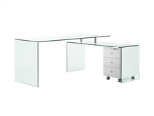 Load image into Gallery viewer, Ultra Modern L-shaped Glass Desk with White Cabinet