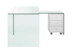 Ultra Modern L-shaped Glass Desk with White Cabinet