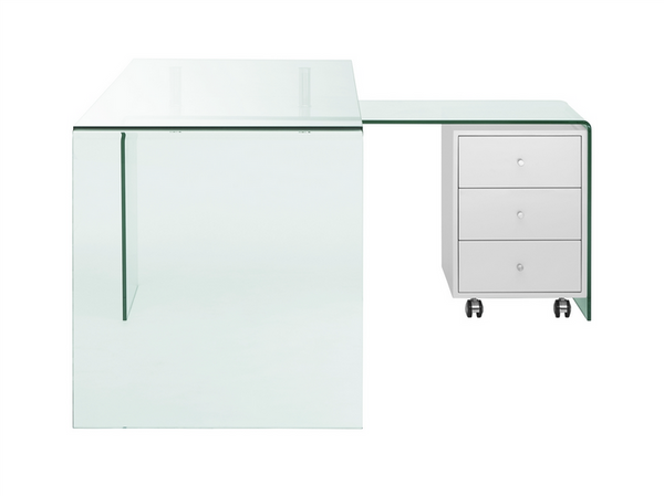 Ultra Modern L Shaped Glass Desk With White Cabinet