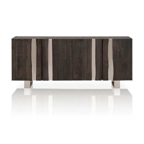 Sophisticated Storage Credenza With Charcoal-Brushed Oak