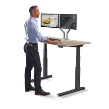 "Load image into Gallery viewer, 60"" Height Adjustable Sit Stand Desk with Frame & Top Color Options"