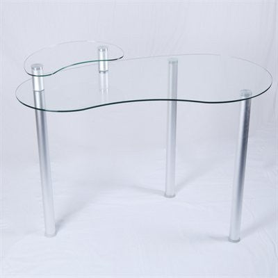 "Modern 45"" Corner Glass Desk with Monitor Stand"