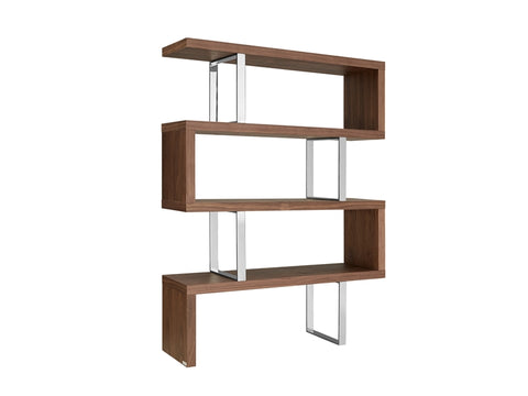 Elegant Walnut & Stainless Steel Bookcase Ideal For Office
