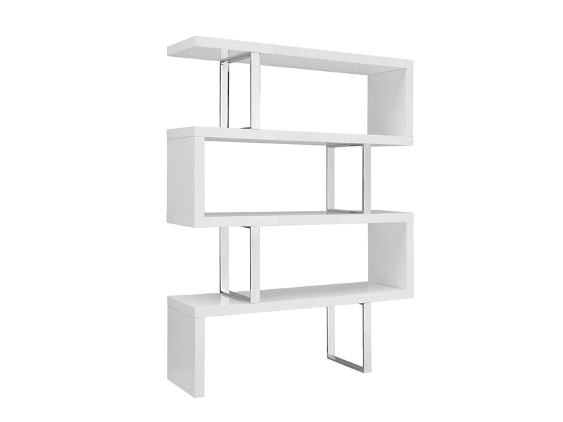 Elegant White & Stainless Steel Bookcase Ideal For Office