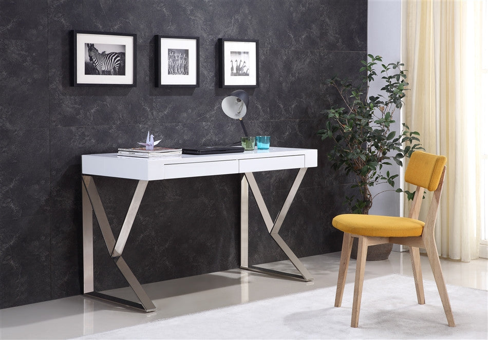 Sleek Two Drawer High Gloss White Lacquer Office Desk With