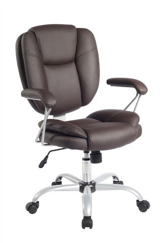 Brown or Black Ergonomic Office Chair with Silver Accents