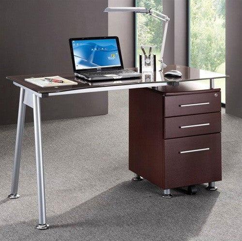 "Modern 51"" Floating Glass Top Desk With Chocolate Drawers"
