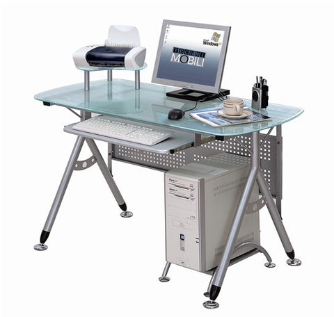 Modern Compact Workstation with Frosted Glass and Steel