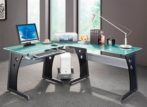 Modern Black L-shaped Desk with Frosted Glass Top and Keyboard Tray